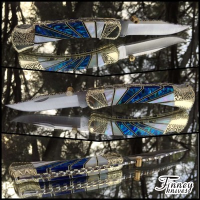 Custom Buck 110 - Starburst - mother of pearl and blue alvs abalone prototype