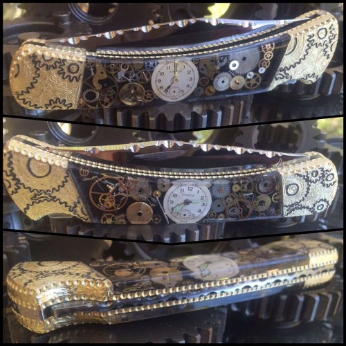 Custom Buck 110 Steampunk Watch Parts knife with black background Original by Garett Finney
