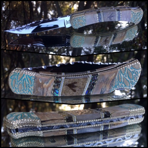 Custom Buck 110 with real fossil bees - abalone and mammoth ivory one of a kind by Garett Finney