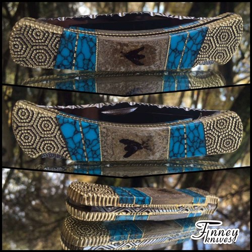 Custom Buck 110 Genuine Fossil Bees and Turquoise inlay prototype