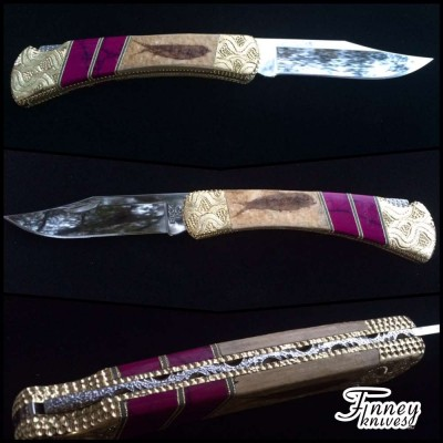 Custom Buck 110 with Genuine Fossil Fish with Sugi Inlay
