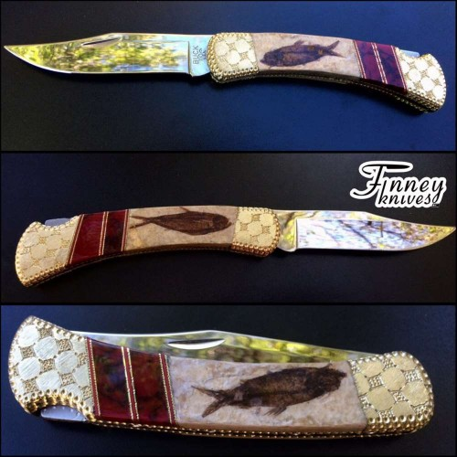 Custom Buck 110 with Genuine Fossil Fish and Bloody Basin Jasper by Garett Finney