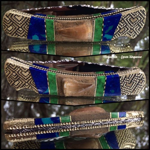 Custom Buck 110 with Genuine Mosasaur Teeth - green turquoise - Chrysocolla inlay by Garett Finney
