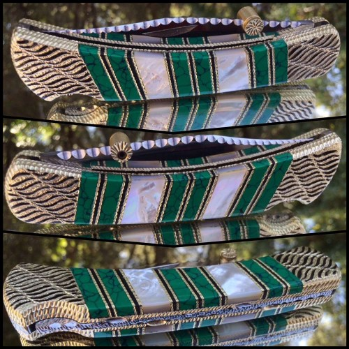 Custom Buck 110 with Malachite Web and Mother of Pearl by Garett finney