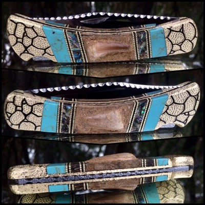 Custom Buck 110 with Genuine Mosasaur Teeth and abalone - turquoise inlay by Garett Finney