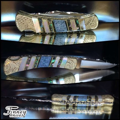 Custom Buck 110 with fossil coral - mother of pearl and abalone 1 of 1