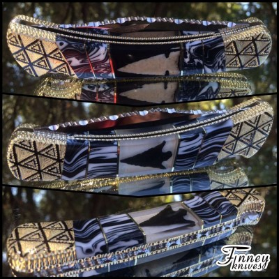 Custom Buck 110 with Genuine Native American Indian Arrowheads and banded black and white stone