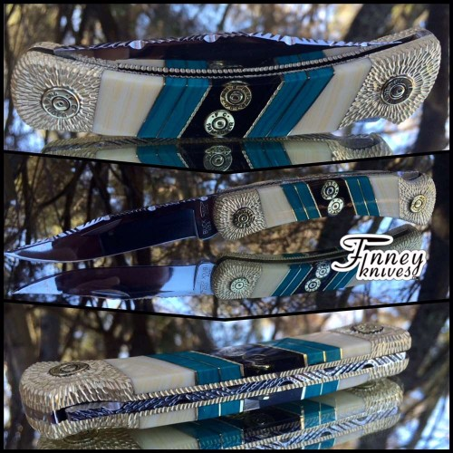 Custom Buck 110 with genuine 9mm and .223 bullet shells with Banded Chrysocolla and banded ivory prototype