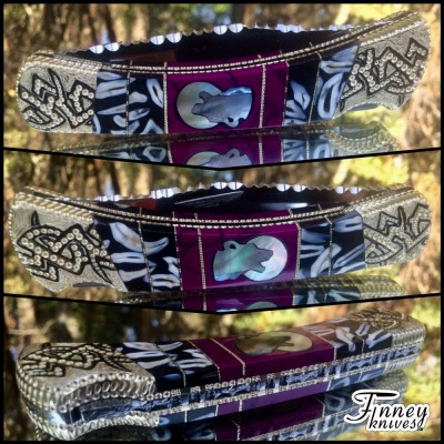 Custom Buck 110 with Real Coyote teeth inlaid with sugi - wolf with moon Prototype