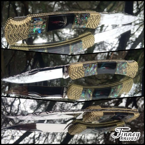 Custom Buck 110 Genuine Fly Fishing Flys and Abalone Inlay Prototype