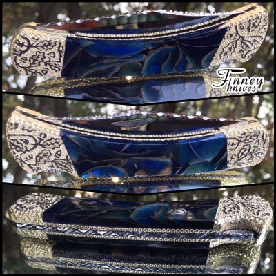 Custom Buck 110 Genuine Evergreen Oak Leaves Cast in Blue with Gold Highlights #2
