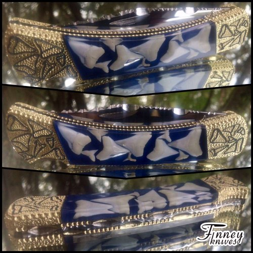 Custom buck 110 with sharks Teeth Blue Background Prototype
